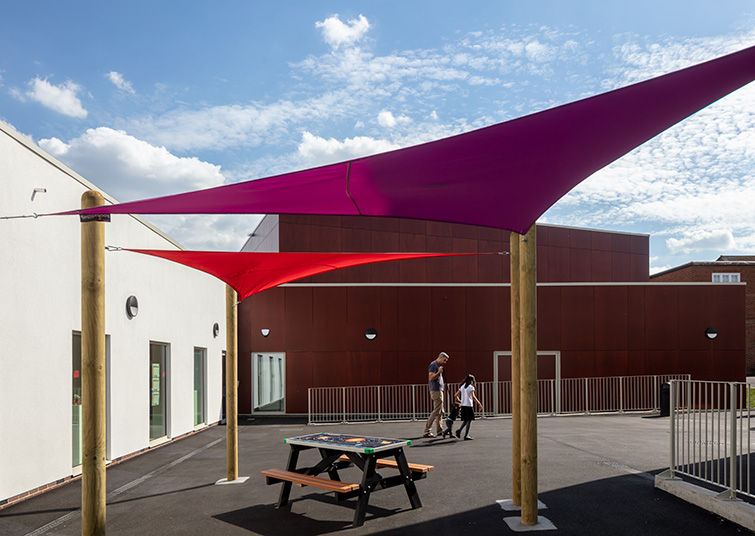 Exterior courtyard tensile fabric structure, 04 of 05.