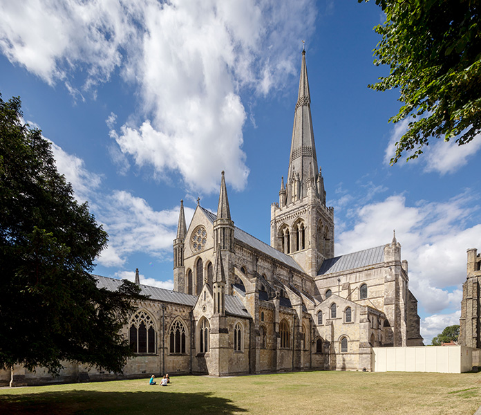 Overall exterior photograph of Chichester Cathedral, 04 of 10.