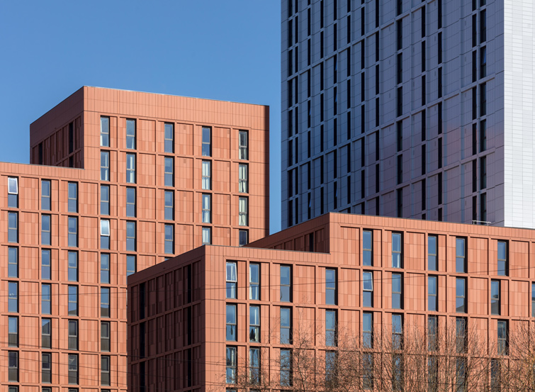 Photo showing the terracotta and metal-clad facades, 04 of 08.