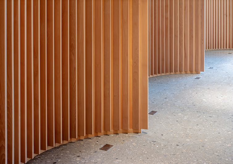 Fluted undulating timber partitions, 05 of 08.