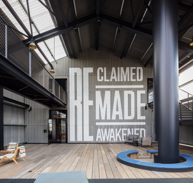 """Photograph showing the """"Reclaimed, Remade, Reawakened"""" branding, 05 of 20."""