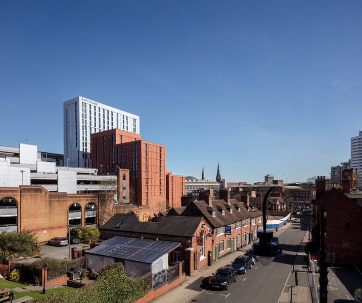 Middle distance view, showing the cladding volumes and local context, 07 of 08.