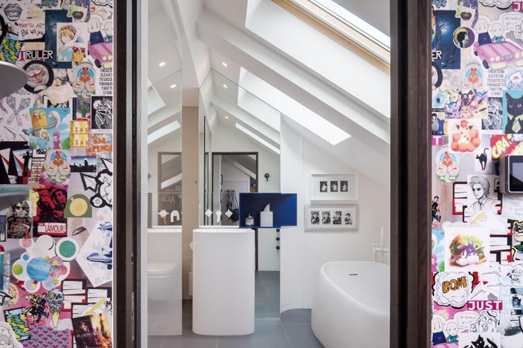 Childs bedroom featuring custom designed wallpaper and en-suite bathroom, 09 of 14.