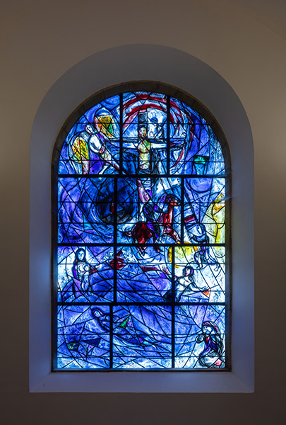 Interior elevation of blue altar stained-glass window, 09 of 10.