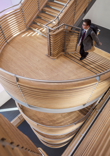 Sculptural timber staircase view, 09 of 13.