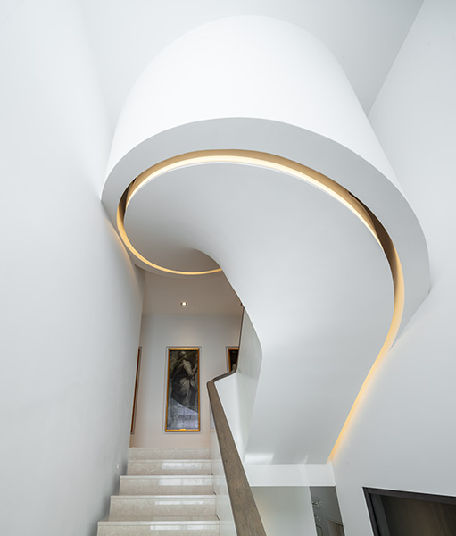 Staircase curves sculpturally as it rises, 09 of 11.