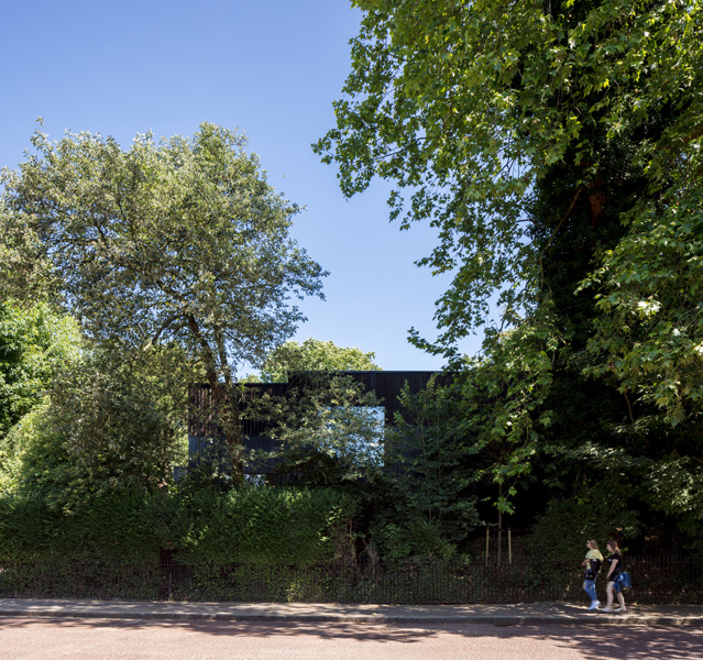 The exterior facade is almost entirely hidden by trees, 10 of 11.