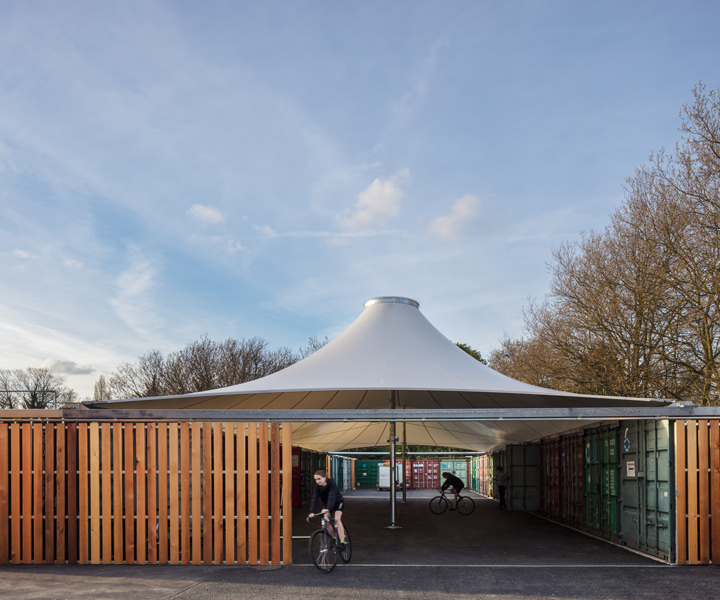 Fabric roof and complimentary timber cladding, 10 of 14.