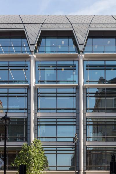 Facade glazing exterior view, 10 of 12.