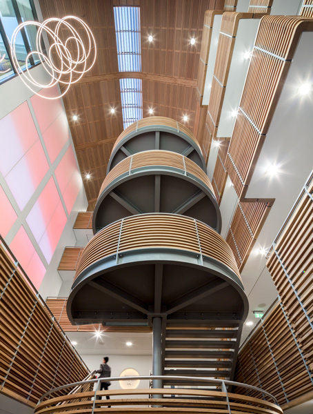 Looking up the atrium to the roof lights and timber soffit, 11 of 13.