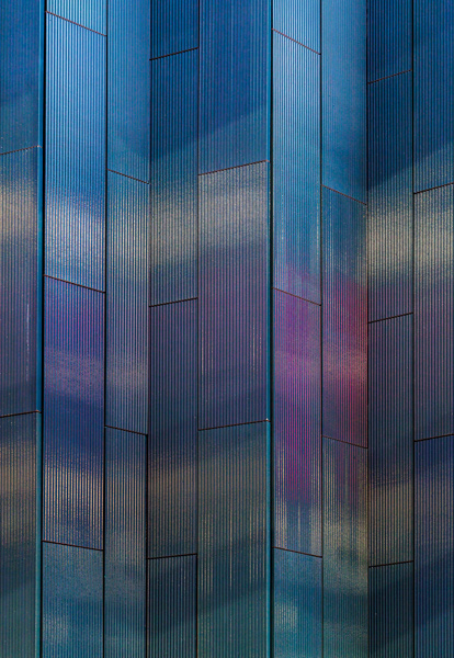 Night time photograph showing how the cladding reflects colours, 12 of 18.
