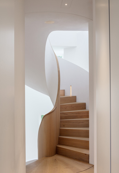 Scultural, architectural stair feature, 17 of 27.