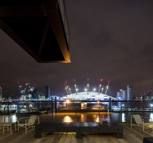 Night view showing the O2 Arena and projecting balcony, 20 of 20.