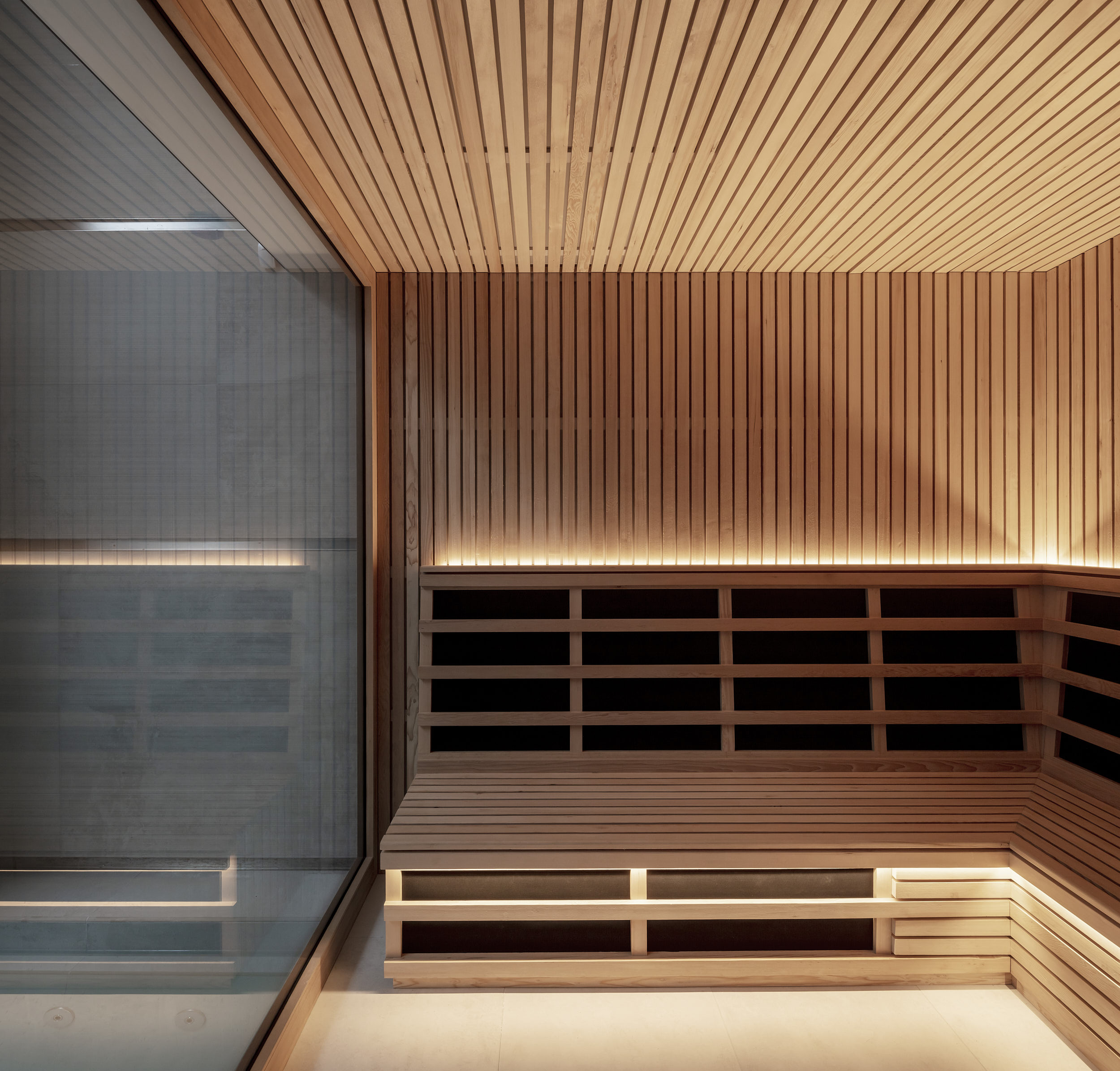 Timber-lined steam-room interior.