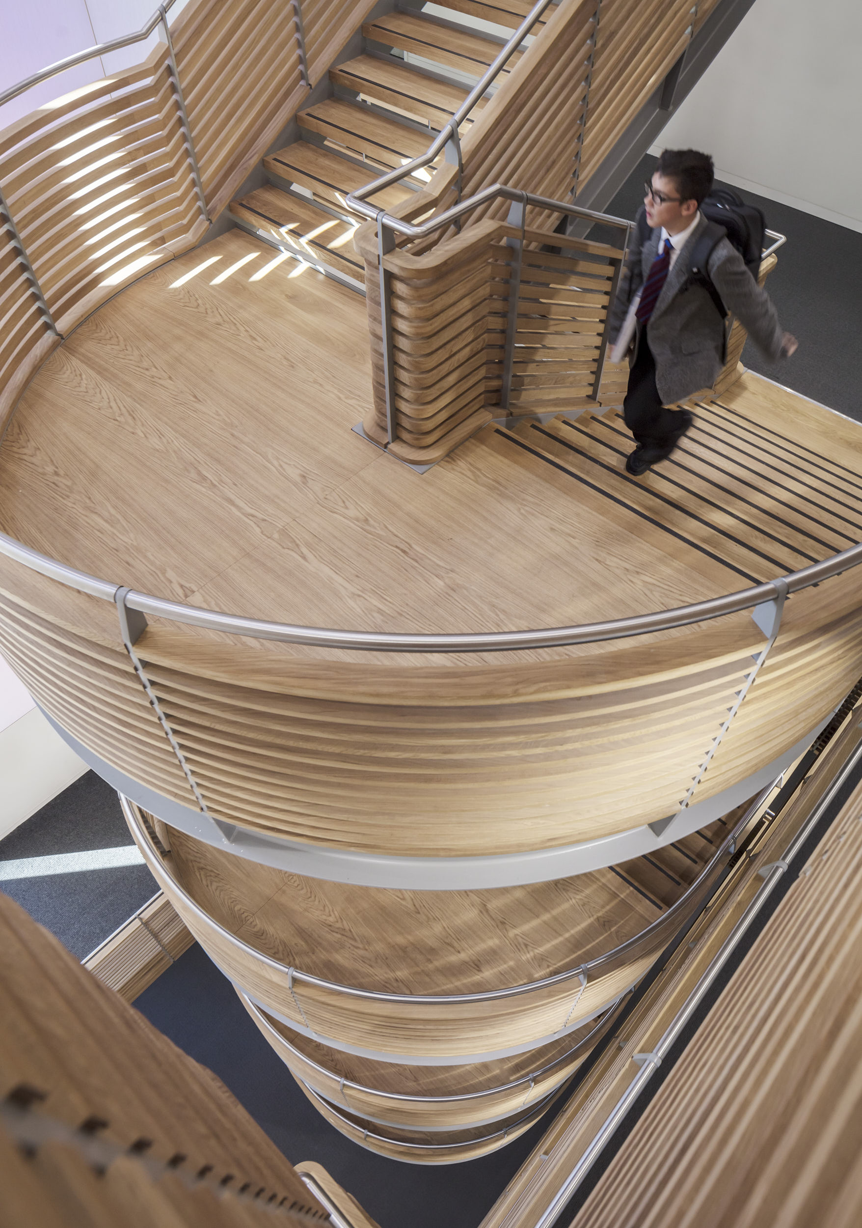 Interior photograph looking down the sculptural timber and steel staircase.