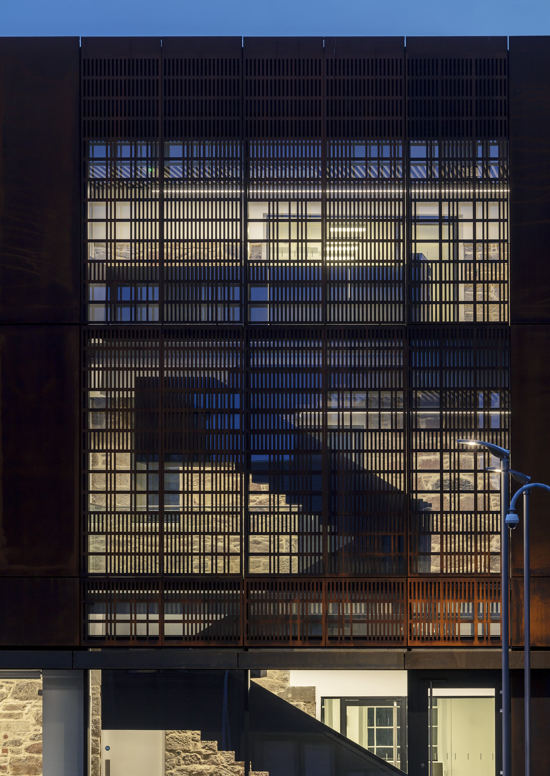 Exterior architectural night photograph.