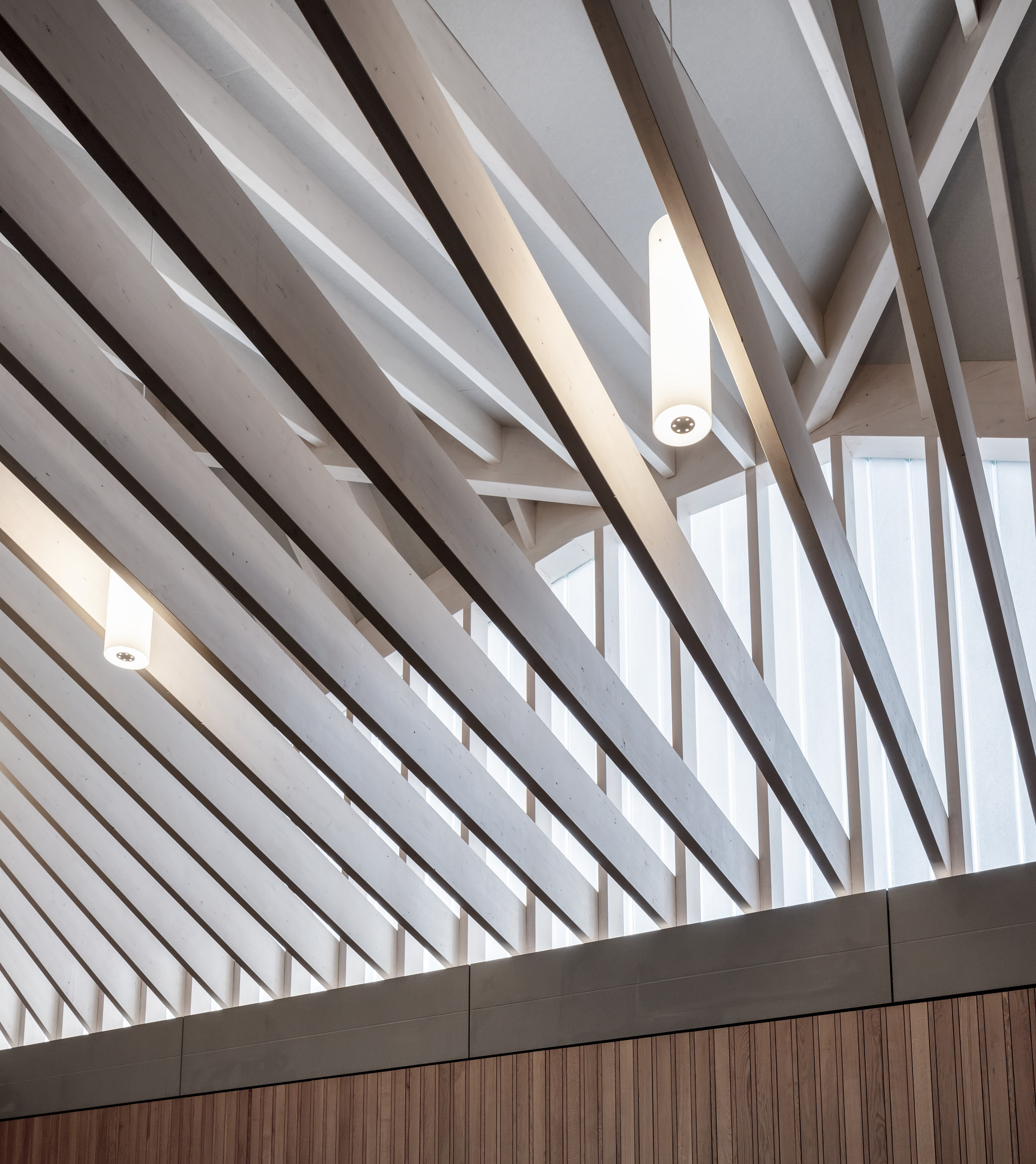 Chapel roof structure is beautifully designed in load-bearing timber.