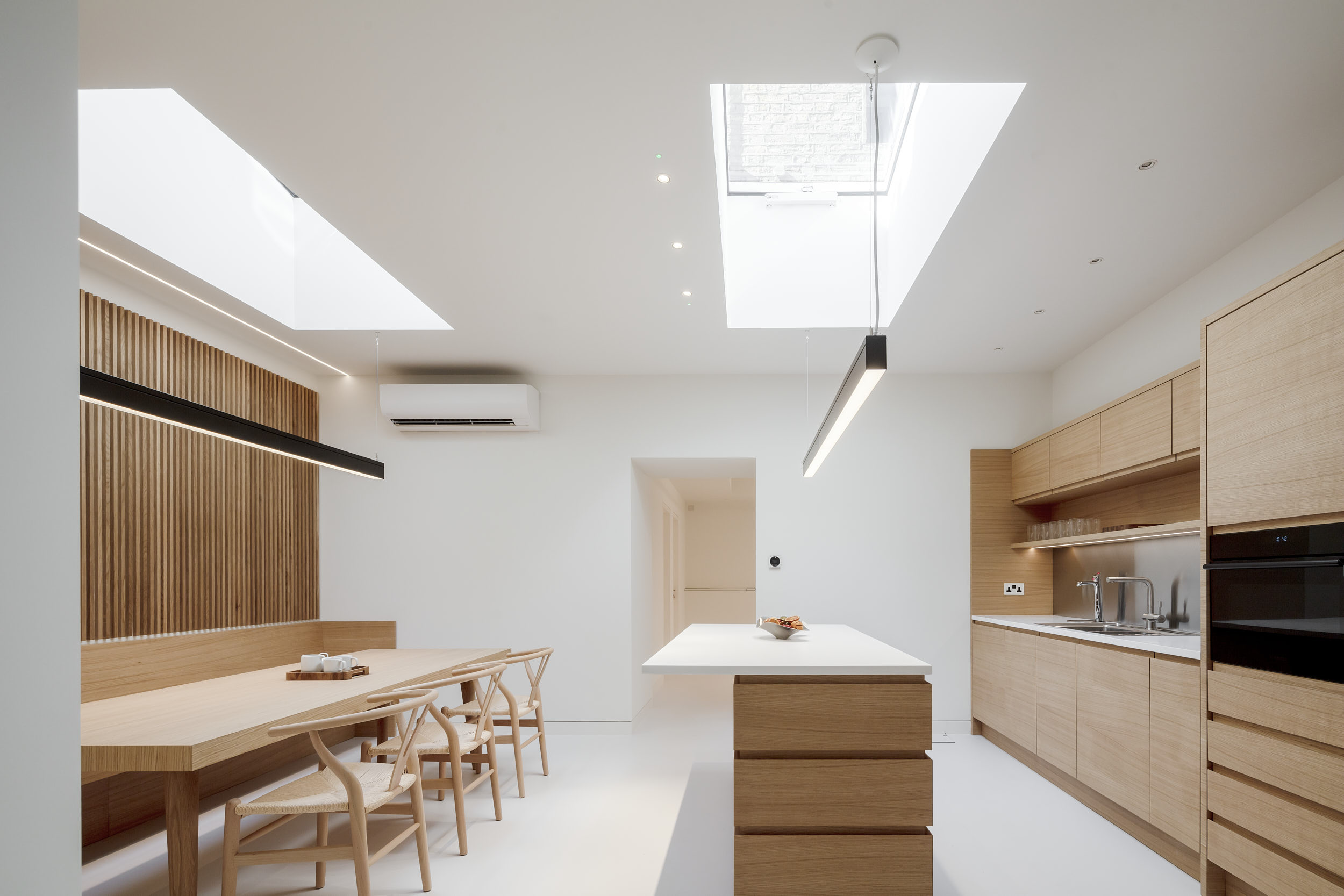 One-point perspective photograph of London Kitchen.