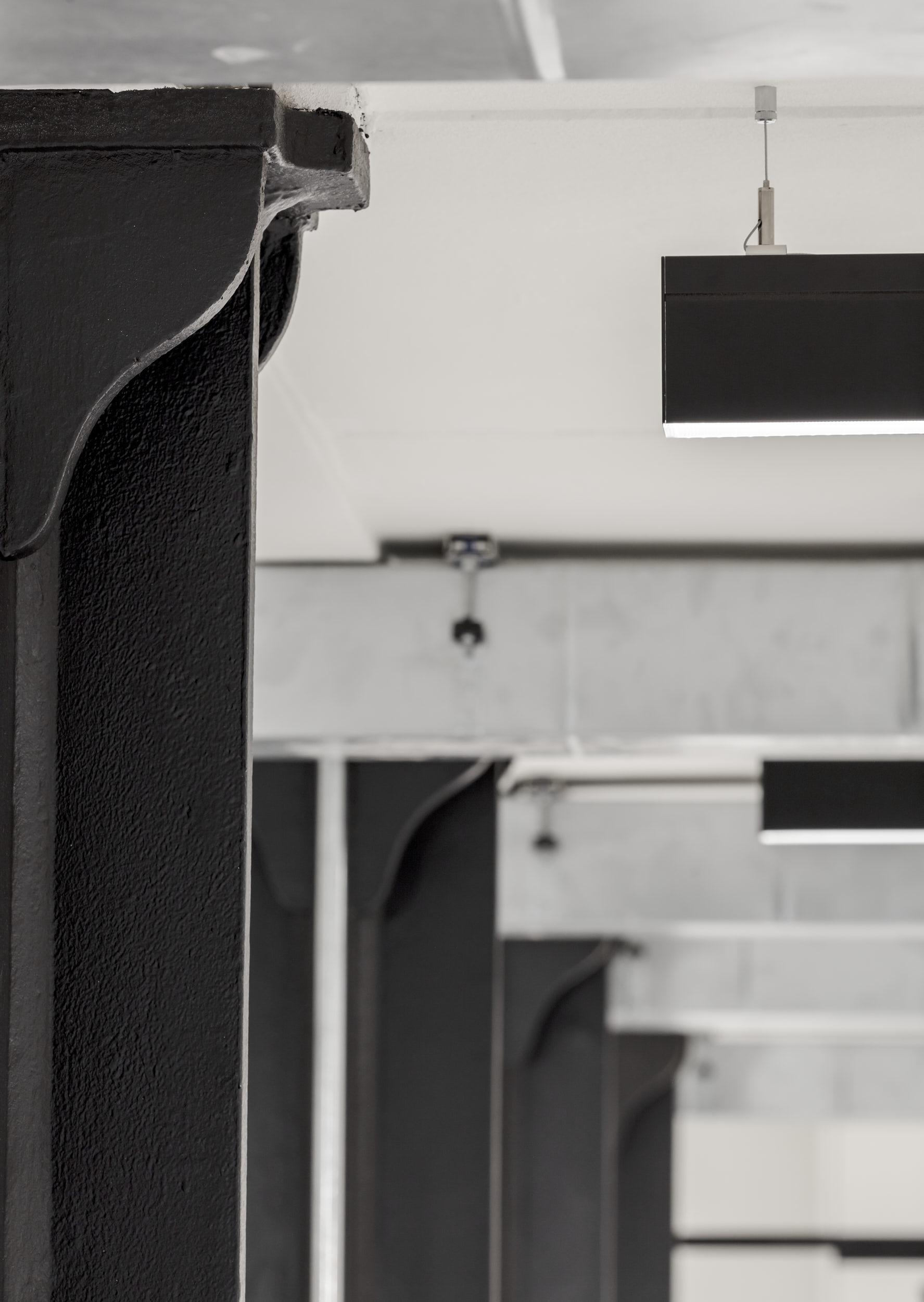 Interior photography showing how the rhythm of the existing structure is echoed by the lighting installation.