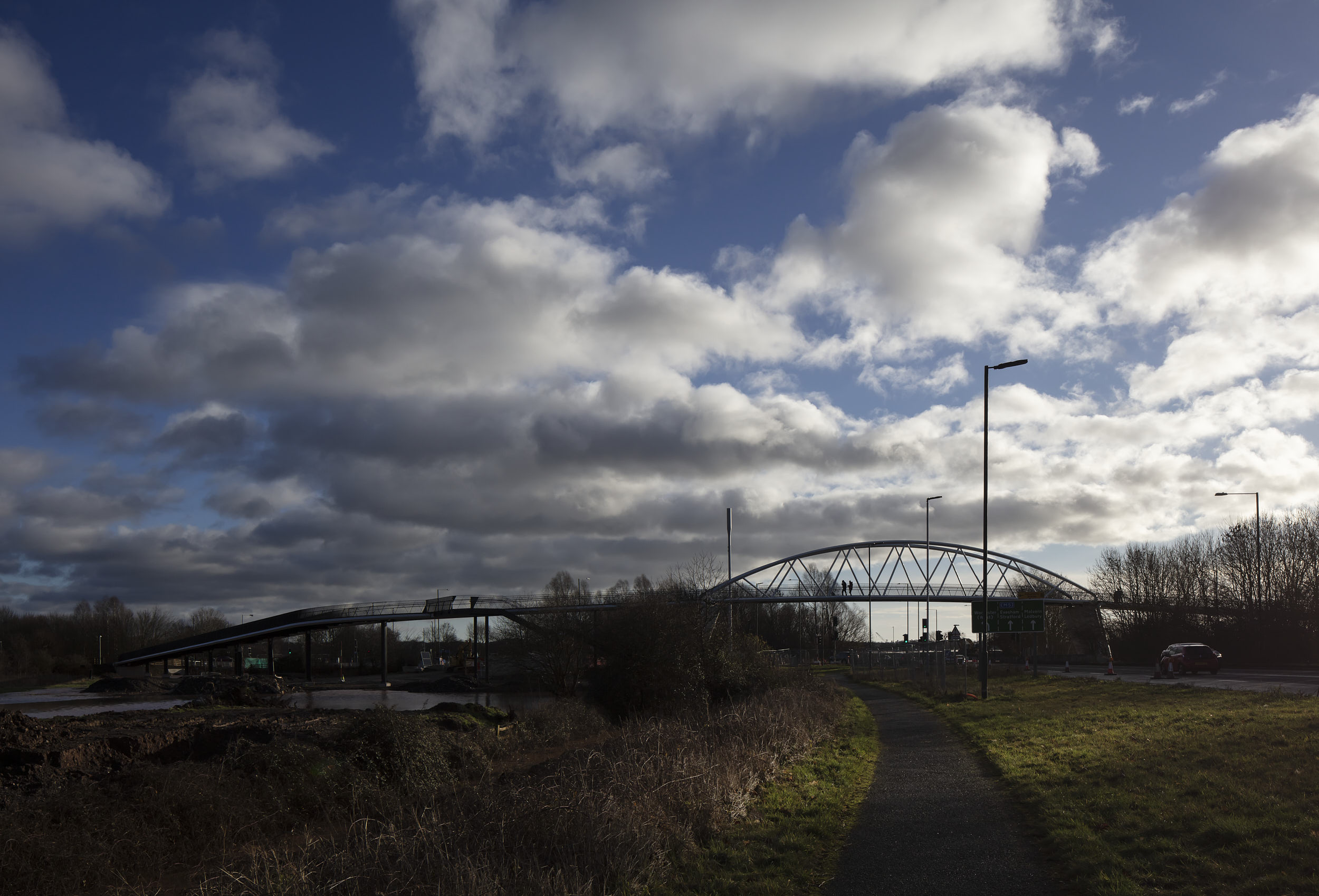 The bridge creates a landmark structure, here viewed in the late afternoon light.